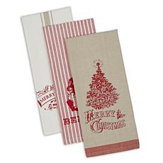 Design Imports Vintage Christmas Kitchen Towels Set of 3