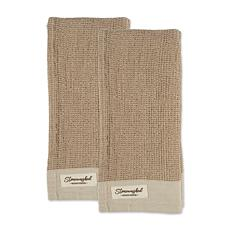 Design Imports Washed Waffle Woven Kitchen Towel Set of 2
