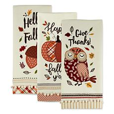 Design Imports Welcome Fall Embellished Kitchen Towel Set of 3