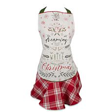 Design Imports White Christmas Tree Ruffle Apron