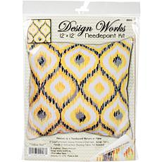Design Works Needlepoint Kit - Yellow Ikat-Stitched In Yarn