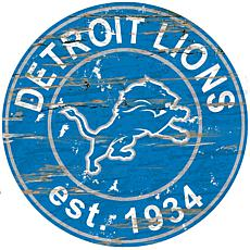 Detroit Lions Round Distressed Sign