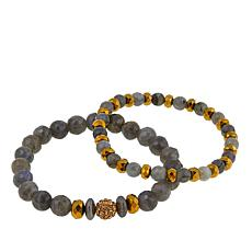 Devoted Jewelry Labradorite and Multistone 2pc Stretch Bracelet Set