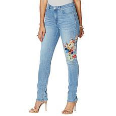 DG2 by Diane Classic Stretch Floral Appliqué Skinny Jean  - Basic