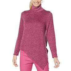 DG2 by Diane Gilman Asymmetric Hem Turtleneck Sweater