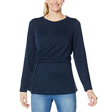 DG2 by Diane Gilman Brushed Knit Asymmetric Drape-Waist Top