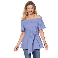 DG2 by Diane Gilman Button Front Off-the-Shoulder Belted Top
