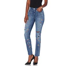 DG2 by Diane Gilman Classic Floral Embroidered Skinny Jean