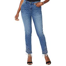 DG2 by Diane Gilman Classic Stretch Embroidered Jean with Bead Fringe