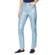 DG2 by Diane Gilman Classic Stretch Foil-Print Skinny Jean