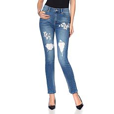 DG2 by Diane Gilman Classic Stretch Patched Embellished Jean - Basic