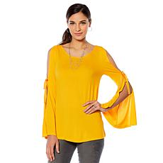 DG2 by Diane Gilman Cold-Shoulder Tie-Sleeve Top