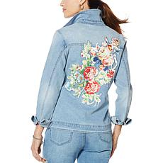 DG2 by Diane Gilman Denim Jacket with Floral Satin Appliqué