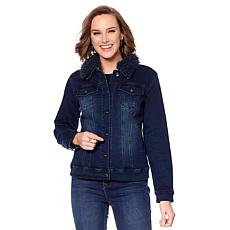 DG2 by Diane Gilman Detachable Faux Fur Trim Denim Jacket
