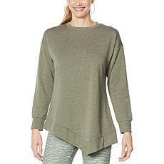 """DG2 by Diane Gilman """"DG Downtime"""" Asymmetric Drape Sweatshirt"""