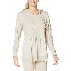 """DG2 by Diane Gilman """"DG Downtime"""" Combo Knit Notch Collar  Hoodie"""