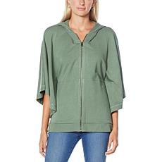 """DG2 by Diane Gilman """"DG Downtime"""" Zip-Front Knit Hooded Poncho"""