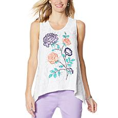 DG2 by Diane Gilman Embroidered Lace Front Tank