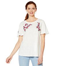 DG2 by Diane Gilman Embroidered Short-Sleeve Tee