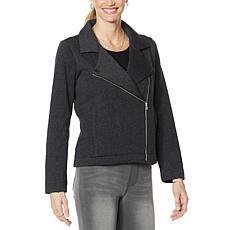 DG2 by Diane Gilman Fleece Zip-Front Moto Jacket