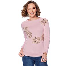 DG2 by Diane Gilman Floral Embroidered Sweatshirt