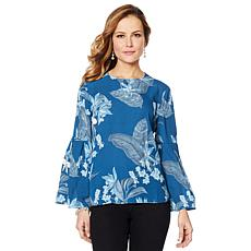 DG2 by Diane Gilman Floral-Print Flared-Sleeve Blouse