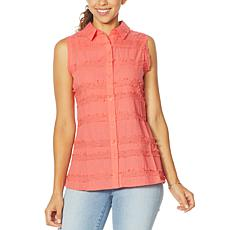 DG2 by Diane Gilman Fringed Button-Up Sleeveless Shirt