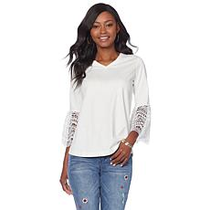 DG2 by Diane Gilman Jersey Top with Bell Crochet Sleeves