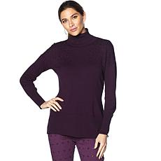 DG2 by Diane Gilman Jeweled Turtleneck Sweater
