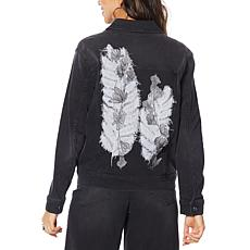 DG2 by Diane Gilman Leaf Embroidered Trucker Jacket