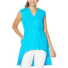 DG2 by Diane Gilman Linen-Blend Sleeveless Hi-Low Tunic