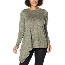 DG2 by Diane Gilman Metallic Knit Asymmetric Sweater