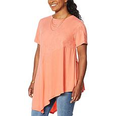DG2 by Diane Gilman Mixed Media Asymmetric Hi-Low Hem Tee