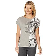 DG2 by Diane Gilman Mixed Media Embroidered Tee with Front Seam