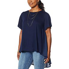 DG2 by Diane Gilman Mixed Media Hi-Low Hem Drama Top