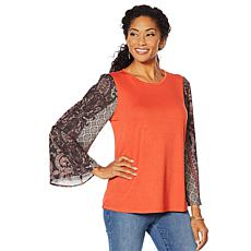 3d5d0a389e5cc DG2 by Diane Gilman Mixed Media Printed-Sleeve Solid Top
