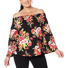 DG2 by Diane Gilman Off-the-Shoulder Floral Print SoftCell Top