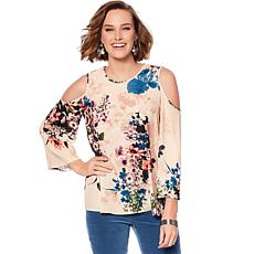 DG2 by Diane Gilman Printed Flare-Sleeve Cold-Shoulder Top