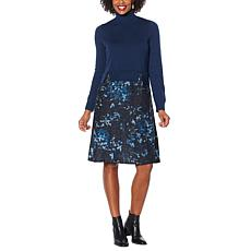 DG2 by Diane Gilman Printed Twofer Turtleneck Sweater Dress
