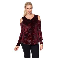 DG2 by Diane Gilman Printed Velvet Cold-Shoulder Top