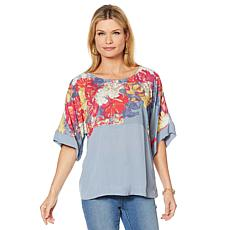 DG2 by Diane Gilman Print/Solid Dolman-Sleeve Top