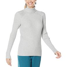 DG2 by Diane Gilman Quad Blend Ribbed Turtleneck Sweater