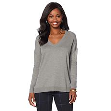 DG2 by Diane Gilman Quad Blend V-Neck Boyfriend Sweater