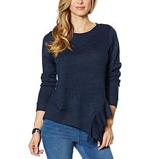 DG2 by Diane Gilman Ruffle Side Brushed Knit Sweater