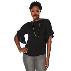DG2 by Diane Gilman Ruffle Sleeve Dolman Top