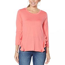 DG2 by Diane Gilman Ruffled Knit Hi-Low Hem Top