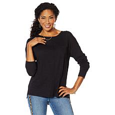 DG2 by Diane Gilman Slub Knit Pocket Front Top