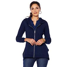 DG2 by Diane Gilman Stretch Twill Knit Denim Jacket with Hoodie