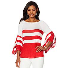 DG2 by Diane Gilman Striped Boatneck Flare-Sleeve Top