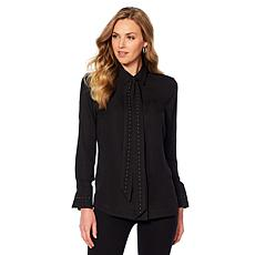 DG2 by Diane Gilman Studded Bow Blouse